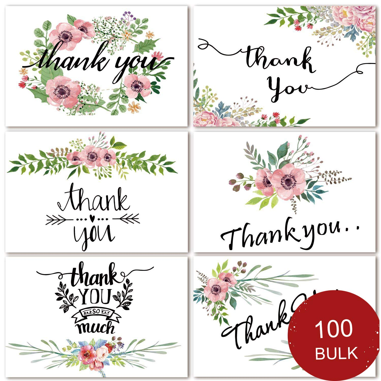 Bulk Thank You Cards, 100 Count Thank You Notes for Wedding, Baby Shower, Bridal Shower, Anniversary, 6 Floral Flower Design, Blank On the Inside, 4 x 6 inch Thank You Cards with Adhesive Envelopes