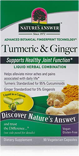 Nature s Answer Turmeric Ginger Dietary Supplement Supports Healthy Joint Function Alcohol-Free, Gluten-Free, Vegan Vegetarian Capsules 90ct.