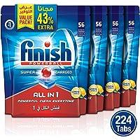 Finish Dishwasher Detergent Tablets All in One-Lemon, 224 Tablets/Pack of 4