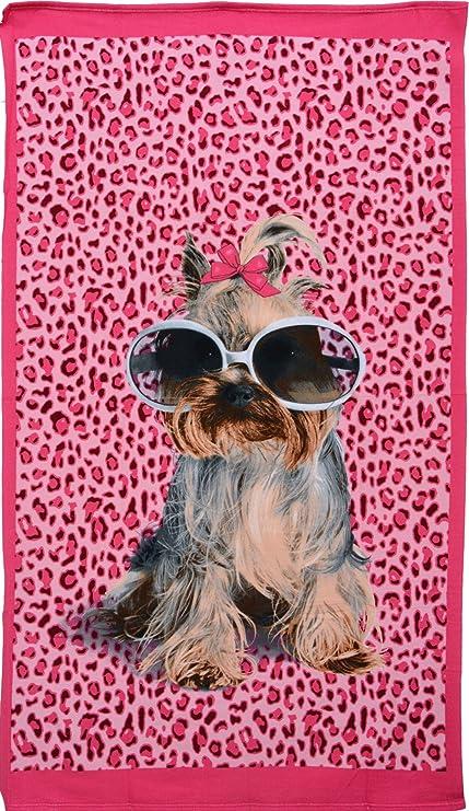 Casa Ydeal Store Toalla de Playa 100cm x 180cm Perro Sobre Fondo Leopardo Rosa