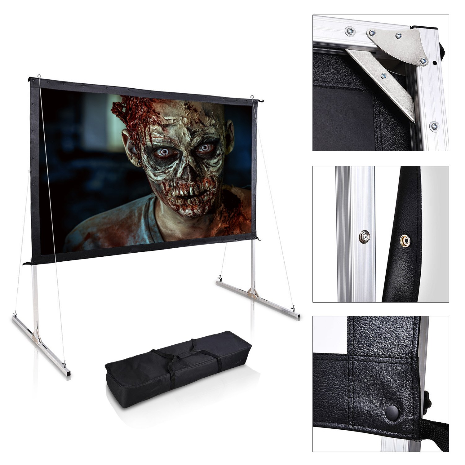 Koval Inc. Portable Projector Screen Free Stand with Legs (120'', Multi-Layer PVC Screen)