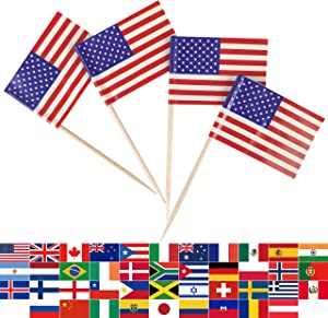 JBCD USA US Flag American Flags,100 Pcs Cupcake Toppers Flag, Country Toothpick Flag,Small Mini Stick Flags Picks Party Decoration Celebration Cocktail Food Bar Cake Flags