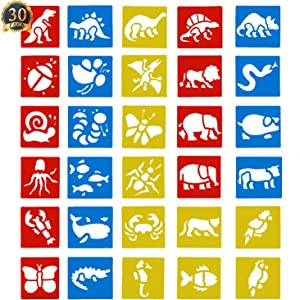 SUBANG 30 Pieces Painting Stencil Plastic Animal Drawing Spraying Templates for Kids Crafts, Five Different Patterns of Painting Templates,Washable Template for School Projects
