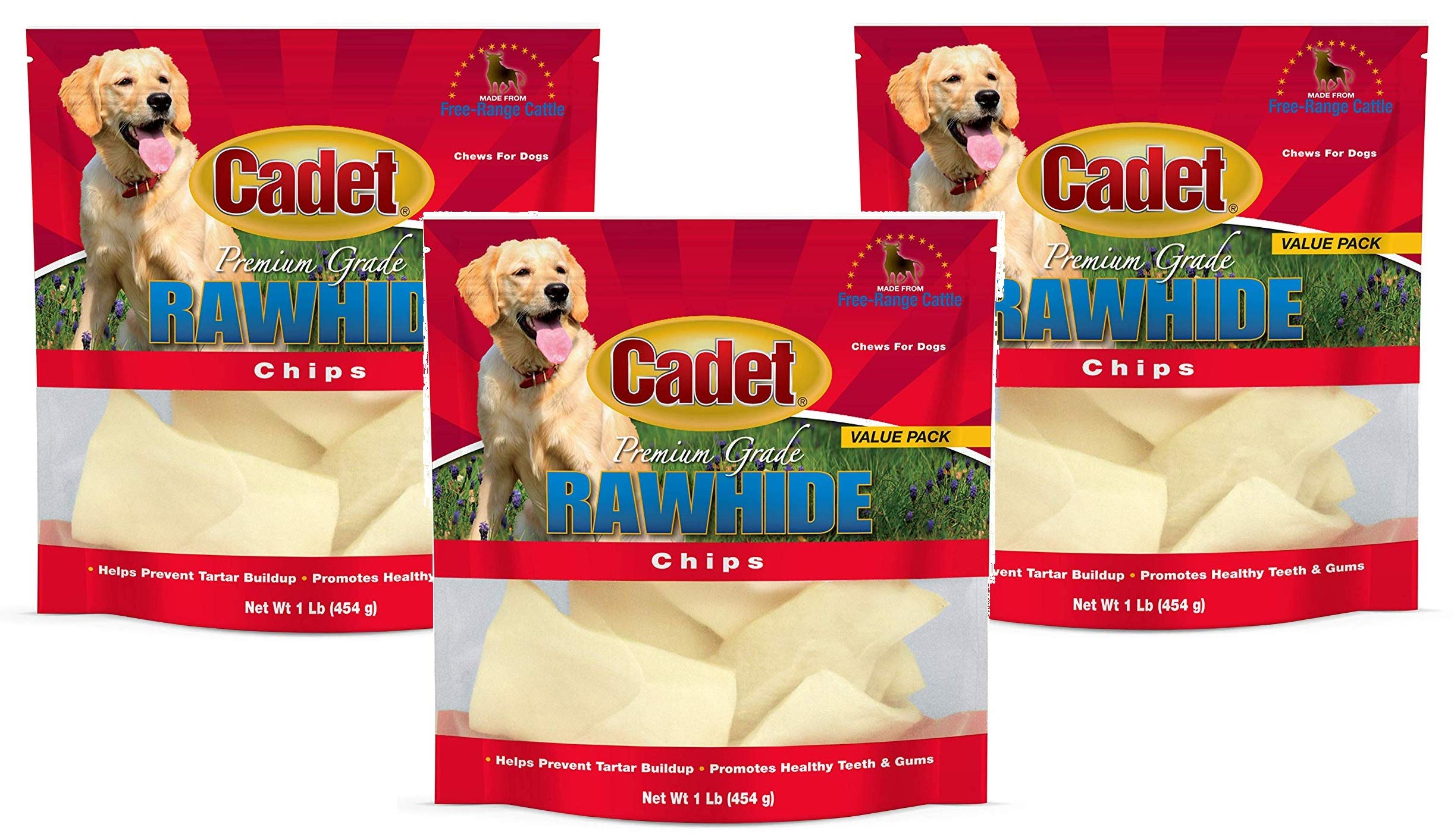 (3 Pack) IMS Trading Natural Rawhide Chips for Dogs, 1-Pound each by IMS Trading