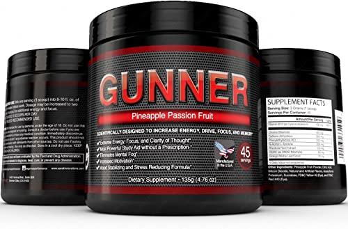 Gunner- Gunner – Powerful Brain Booster – Focus, Memory, Stamina, Energy, Concentration 45 Servings
