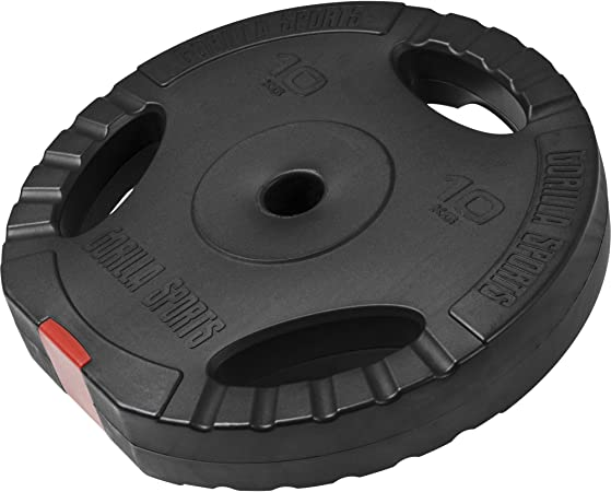 Gorilla Sports Vinyl Tri Grip Weight Plate 10kg Amazon Co Uk Sports Outdoors