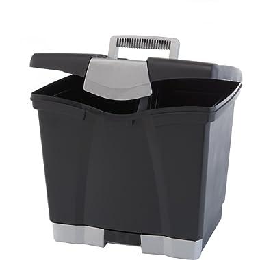 Storex Portable File Storage Box with Drawer, Latch Lid, Letter Size, Black (61523U01C)