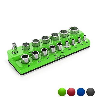 Olsa Tools Magnetic Socket Organizer   1/2-inch Drive   SAE   Green   Holds 16 Sockets   Premium Quality Tools Organizer: Automotive