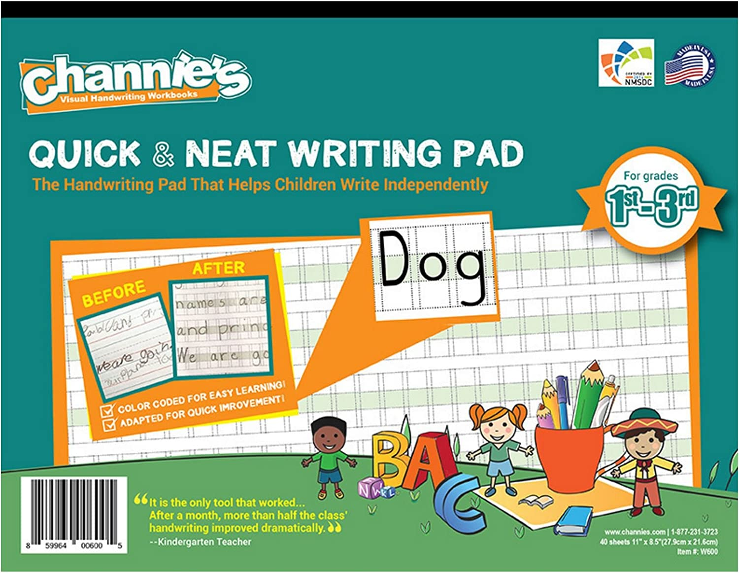 Amazon.com : Channie\'s Visual Handwriting Worksheet for 1st - 3rd ...
