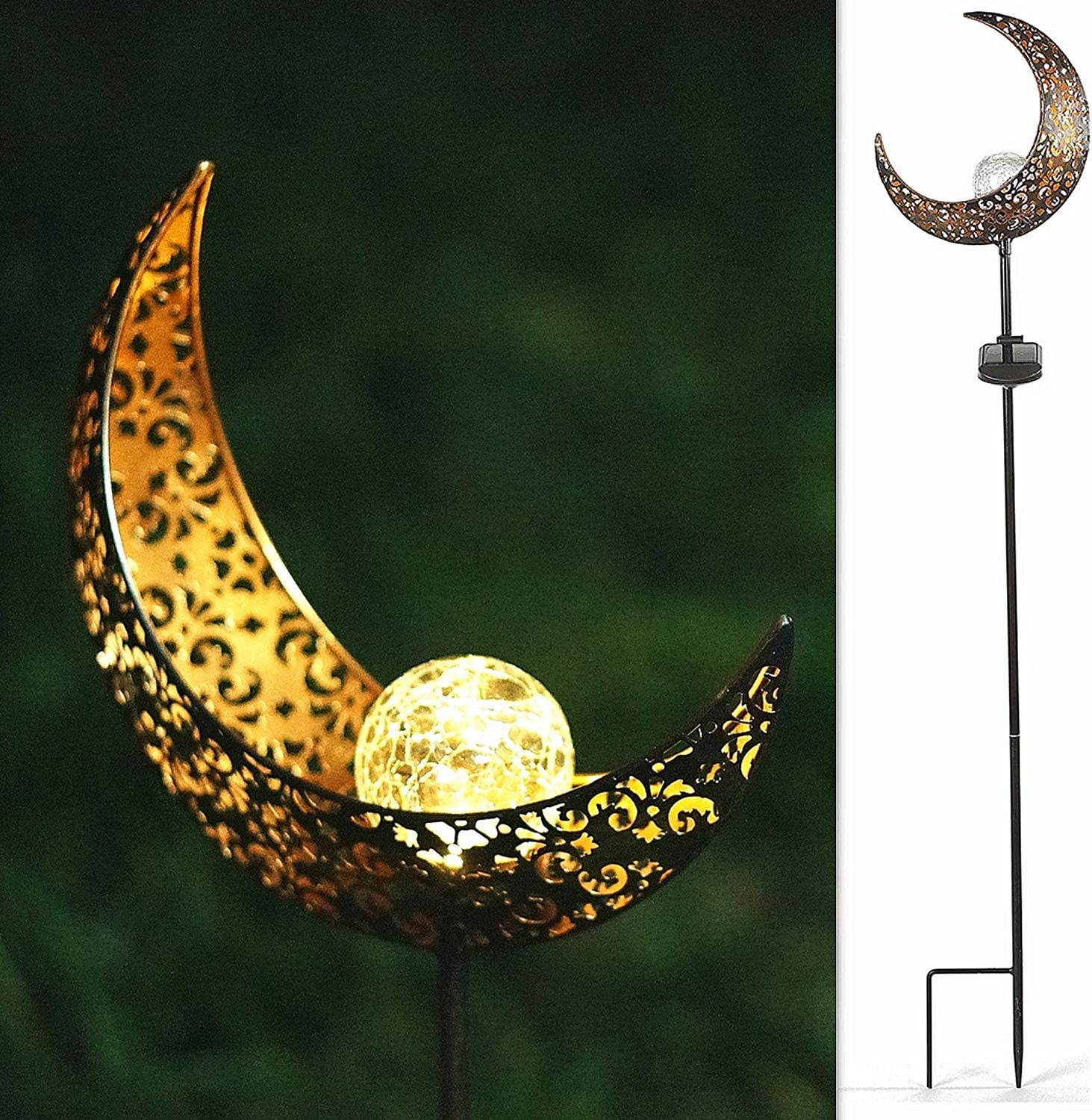 SunKite 1 Pack Garden Solar Light Outdoor Metal Moon Shape Lamp with Waterproof Crackle Glass Globe for Garden,Lawn,Patio,Pathway or Courtyard
