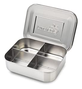 LunchBots Medium Quad Snack Container - Divided Stainless Steel Food Container - Four Sections for Finger Foods On the Go - Eco-Friendly, Dishwasher Safe - Stainless Lid - All Stainless