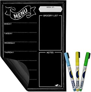 "Magnetic Menu Board for Kitchen Fridge with Neon Chalk Markers - Latest Easy to Erase Technology - 16x12"" Weekly Meal Planner Dry Erase Board for Refrigerator and Grocery List Notepad Chalkboard"