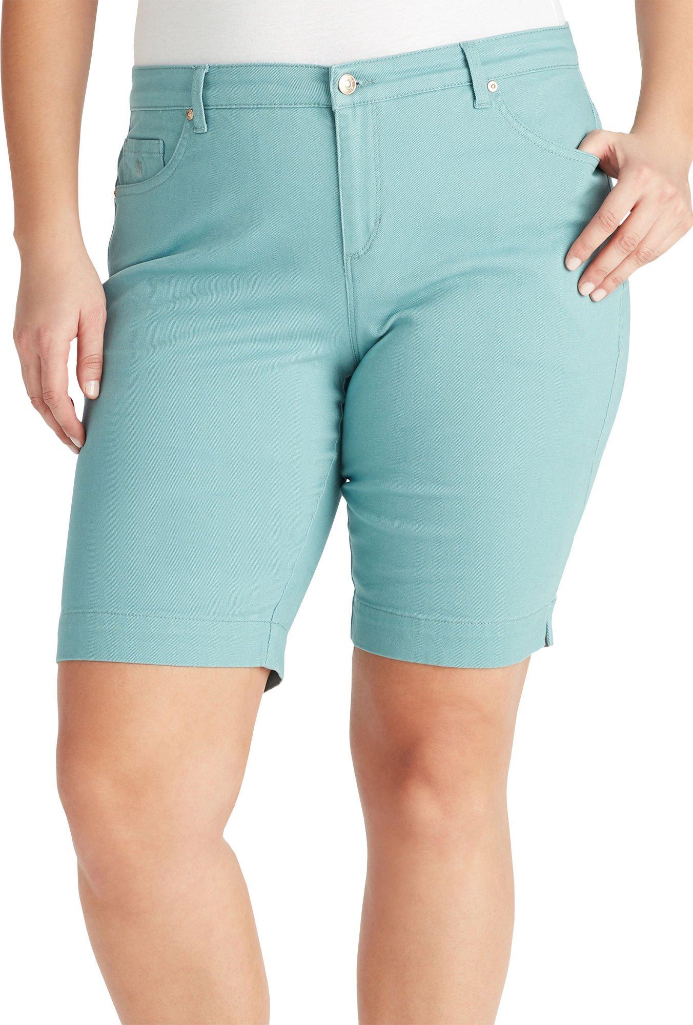 Gloria Vanderbilt Plus Amanda Bermuda Twill Shorts 16W Mineral Blue