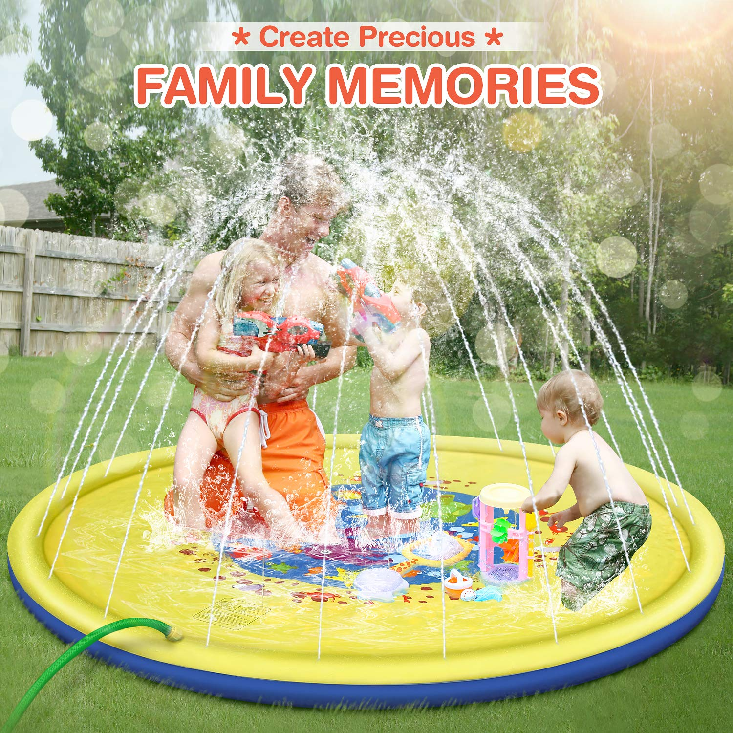 Splash Pad, 69 Inches No More Burst Sprinkle and Splash Play Mat Sprinkler for Kids Boys Girls Fun Splash Play Mat Summer Outdoor Sprinkler Pad Party Water Toys Extra Large Children's Sprinkler Pool by tomser (Image #5)