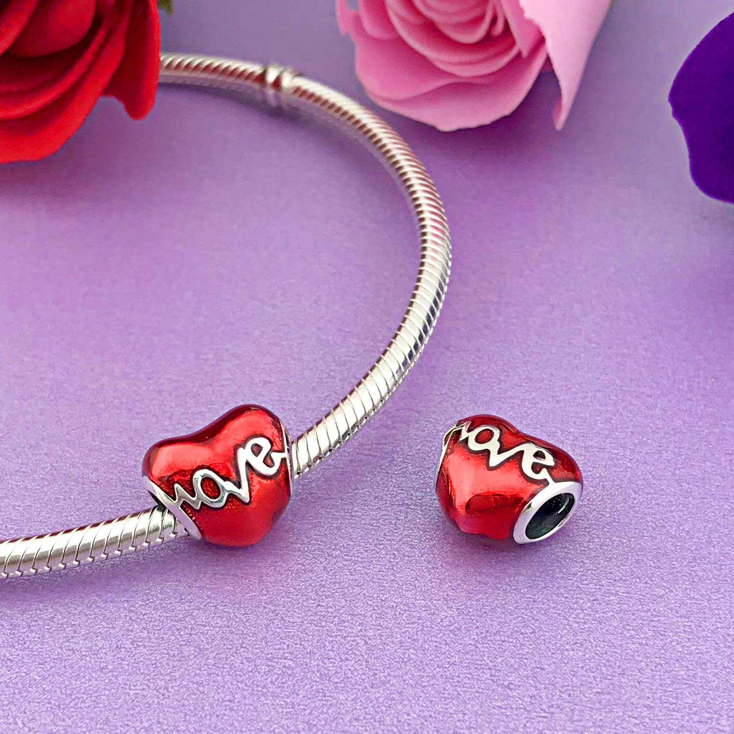 21816f3ba MallDou Jewelry 925 Sterling Silver Charm fit Pandora Charms Bracelet  Necklace Red Enamel ...