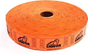 2000 Liquor Orange Single Roll Consecutively Numbered Raffle Tickets