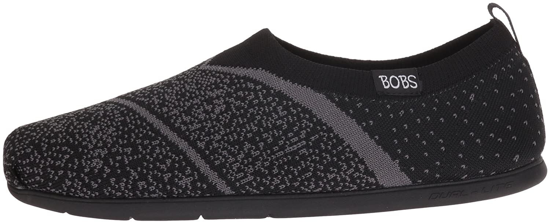 Skechers BOBS from Women's Plush Lite Sox Hop Flat B01G6200UU 8 M US|Black/Gray