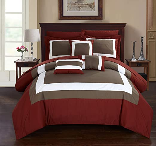 Chic Home Zarah 10 Piece Comforter Set Complete Bed in a Bag Pieced Color Block