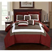 Chic Home 10-Piece Duke-Pieced Color Block Bed in a Bag Comforter Set
