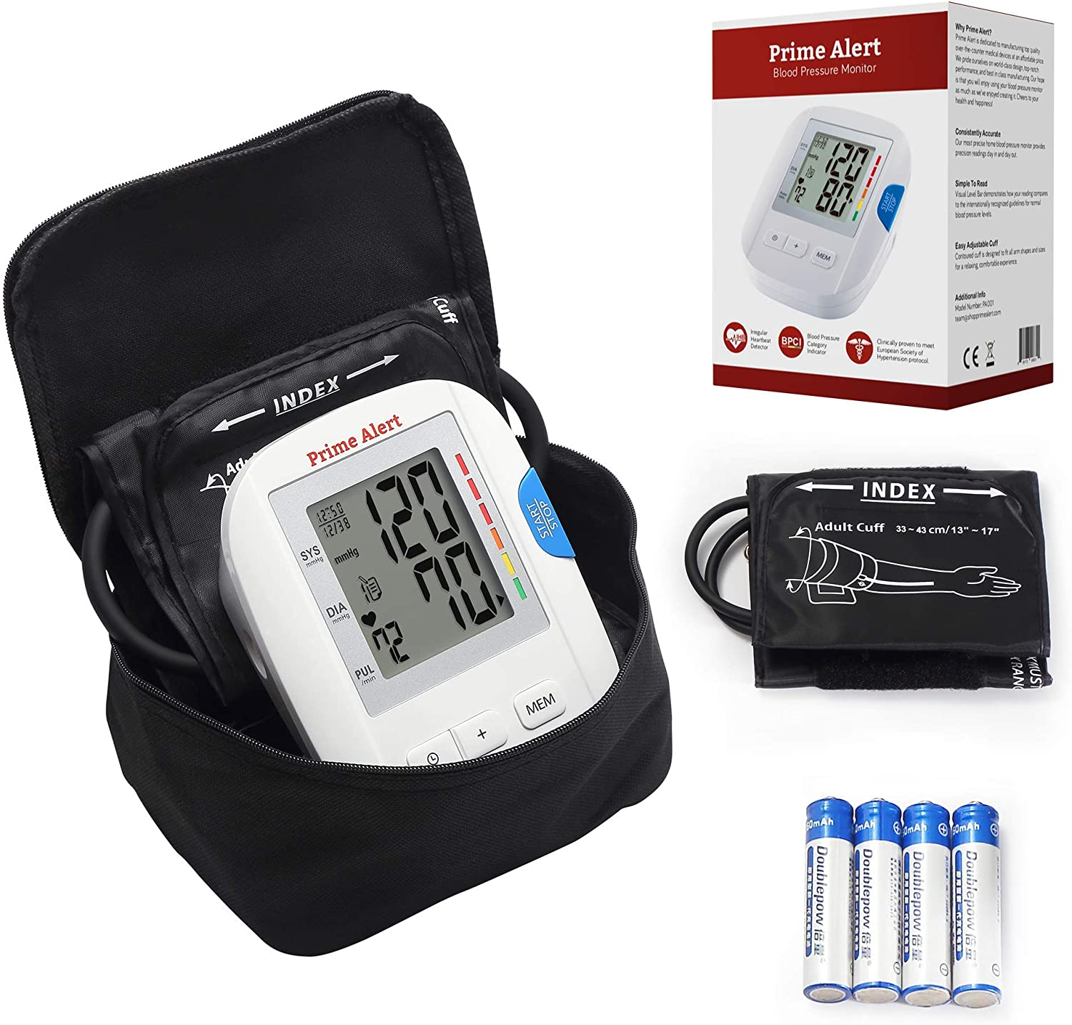 Prime Alert Blood Pressure Monitor FDA Approved Fully Automatic Upper Arm Heart Rate Machine With Large LCD Display 2 Cuff Sizes, Travel Case, Batteries, 120 Internal Memory Storage Included