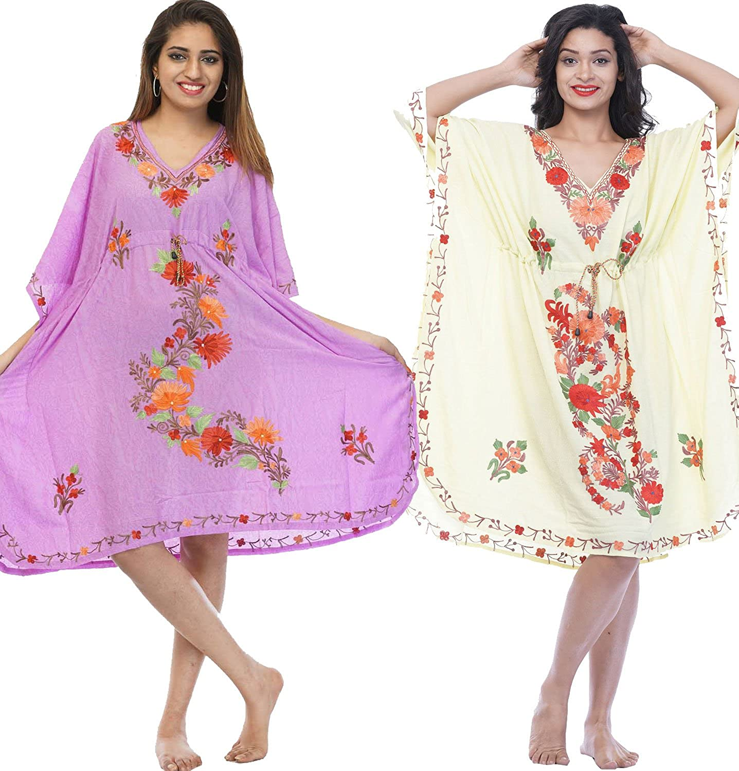 Odishabazaar Cotton Kashmiri Kaftan Beach Dress/Swimsuit Cover Up Combo(465) gpck-467