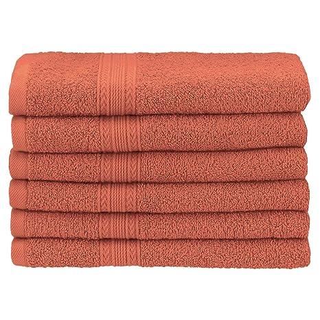 Superior - Juego de Toallas de Lavabo ecológicamente puras, de algodón, Color Coral,