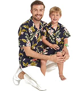 0d498d5d2 Made in Hawaii Matching Father Son Shirts Cabana Set in Navy Pink Hibiscus