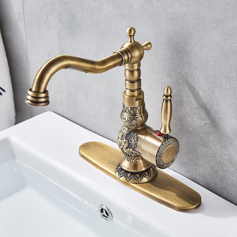 Senlesen Antique Brass Swivel Spout Bathroom Faucet Vanity Sink
