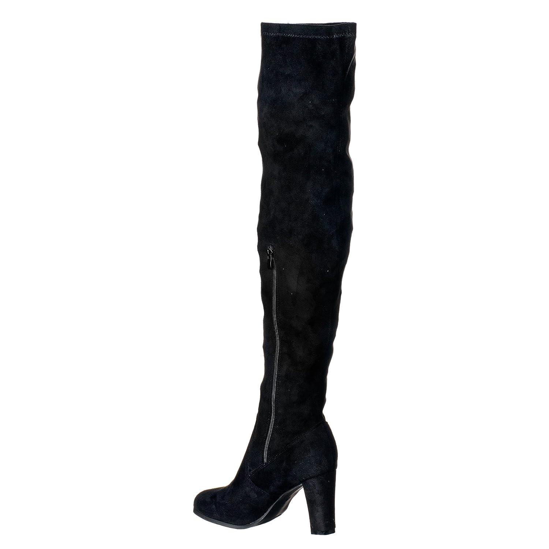 Botas para mujer/señora de tacón bajo a la altura de la rodilla con cremallera elásticas - 39, Ante negro