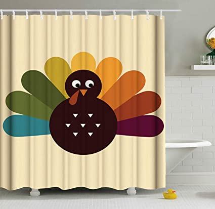 ShineSnow Thanksgiving Day Cute Turkey Shower Curtain Set 60 X 72 Inches Home Decor Bathroom