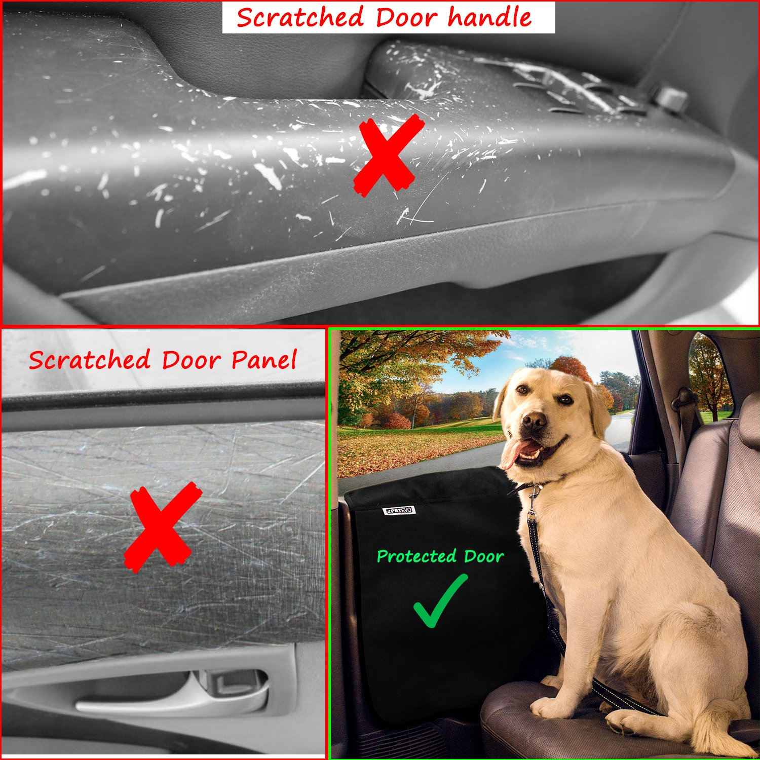 Pet Car Door Protector for Dogs   Interior Cover Guard Vehicle Back Door Protection from Pets Scratch Drooling Nails Large Safe No Slip Velcro Stick for Side Doors PetEvo by PetEvo (Image #2)