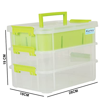 Kurtzy Plastic Storage Box 3 Layer Transparent Portable Organizer Container For Travelling Camping Office Kitchen