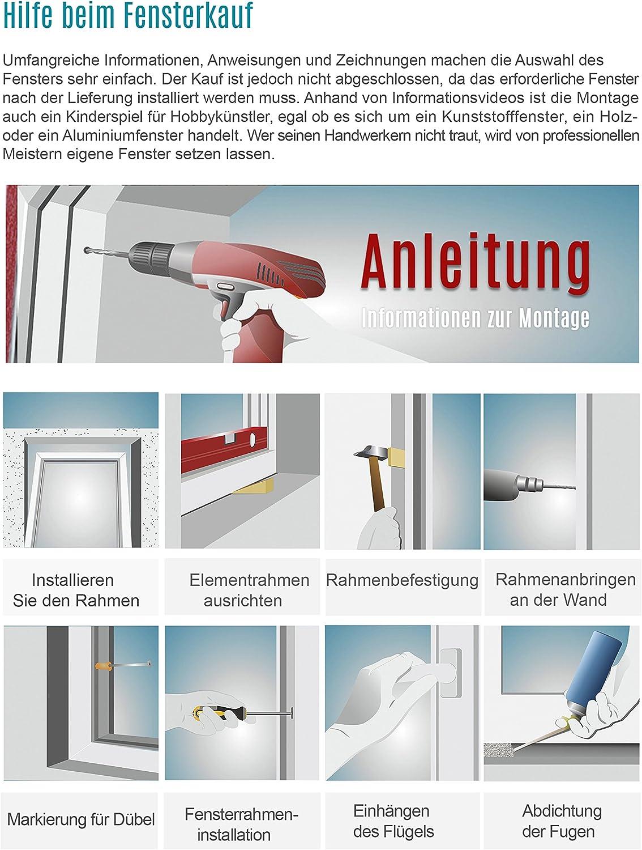 Premium BxH: 55x100 cm DIN Rechts Fenster Kellerfenster Kunststofffenster Breite: 55 cm 2 fach Verglasung Alle Gr/ö/ßen Dreh Kipp Wei/ß