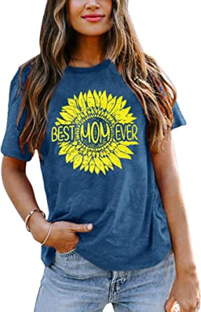 Womens Best Mom Ever T-Shirt Mama Sunflower Shirt Mom Life Funny Graphic Tees Saying Cute Short Sleeve Tees Tops
