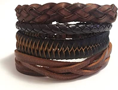 Unisex Stylish Jewelry Beaded Leather Bracelet Brown Black Leather Gift for Him Woven Men Bracelet Special Design Bangle Fathers Gift