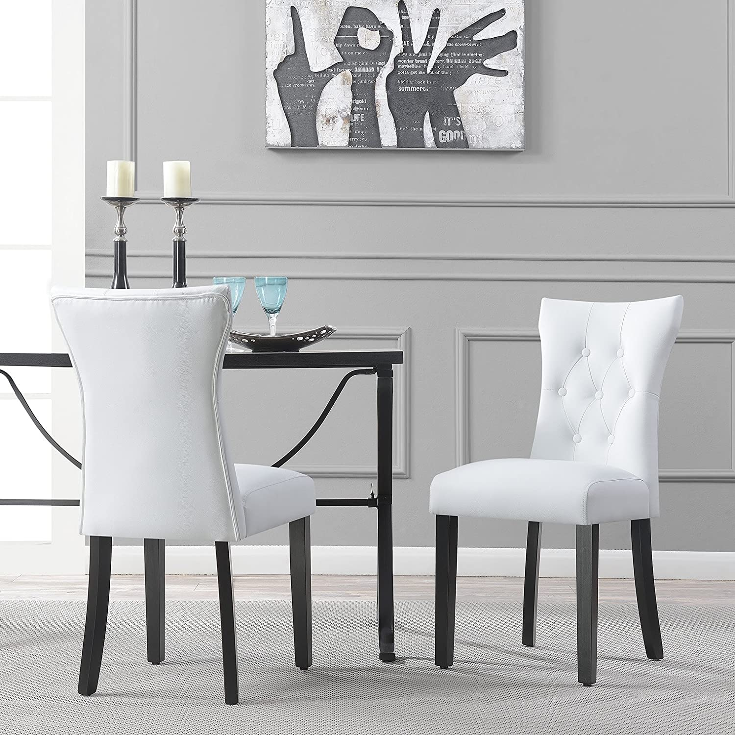 Amazon Com Belleze Elegant Upholstered Dining Modern Chairs W Button Tufted Backrest Set Of 2 White Chairs