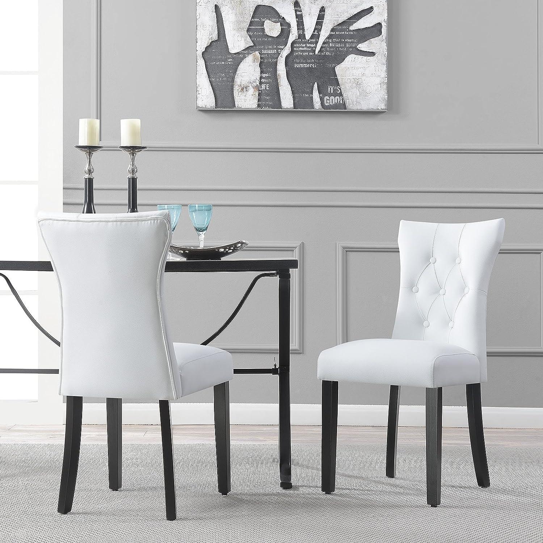 Amazon.com - Belleze Elegant Upholstered Dining Modern Chairs w/Button Tufted Backrest (Set of 2) White - Chairs & Amazon.com - Belleze Elegant Upholstered Dining Modern Chairs w ...