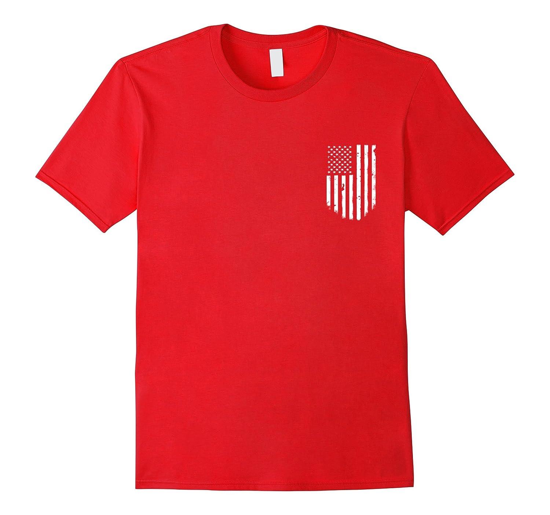 American Flag Pocket T-shirt Patriotic Distressed Top Tee-T-Shirt
