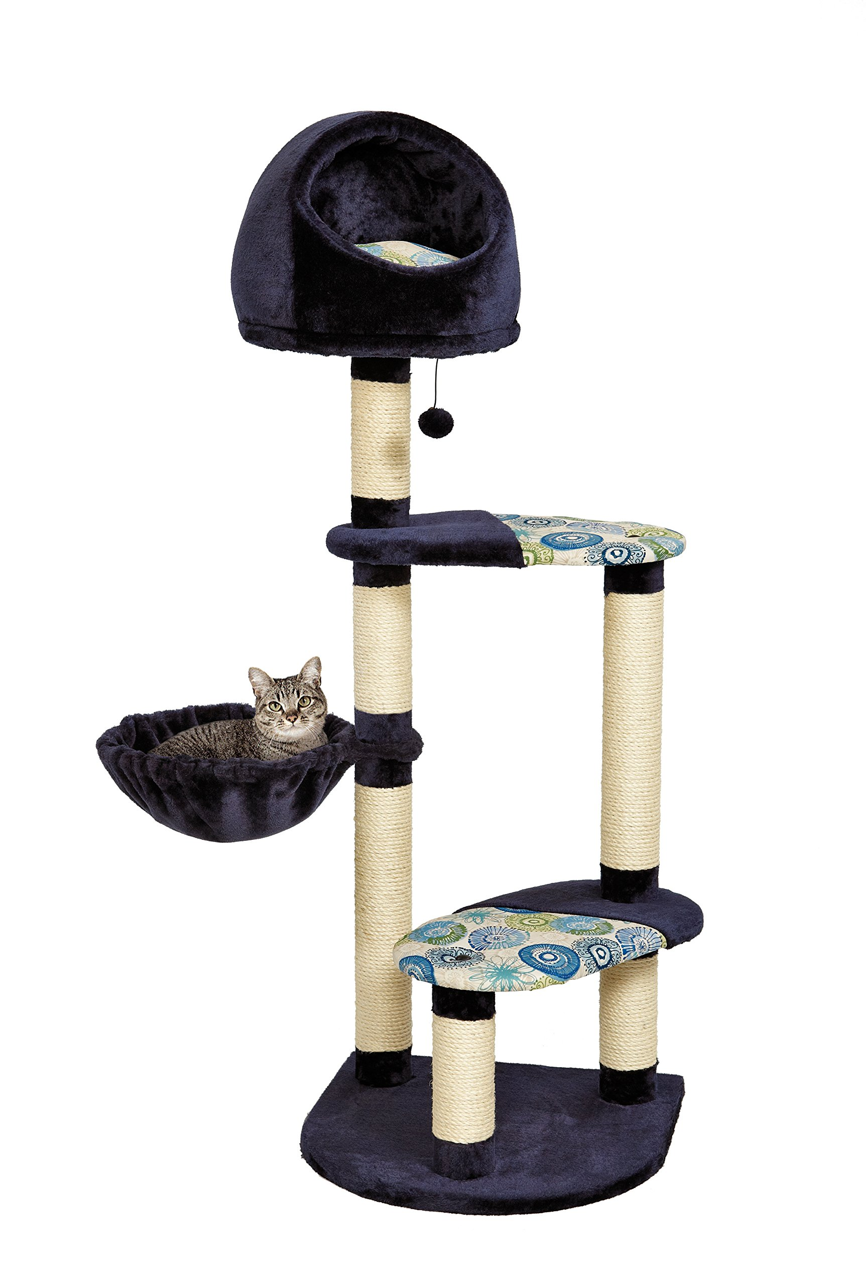Cat Tree | ''Resort'' Cat Tree / Cat Furniture, 4-Tier Cat Tree w/ Sisal Wrapped Cat Scratching Support Posts, Hanging Cat Bunker Bed & High Canopy Cat Perch, Blue / White Pattern, Large Cat Tree
