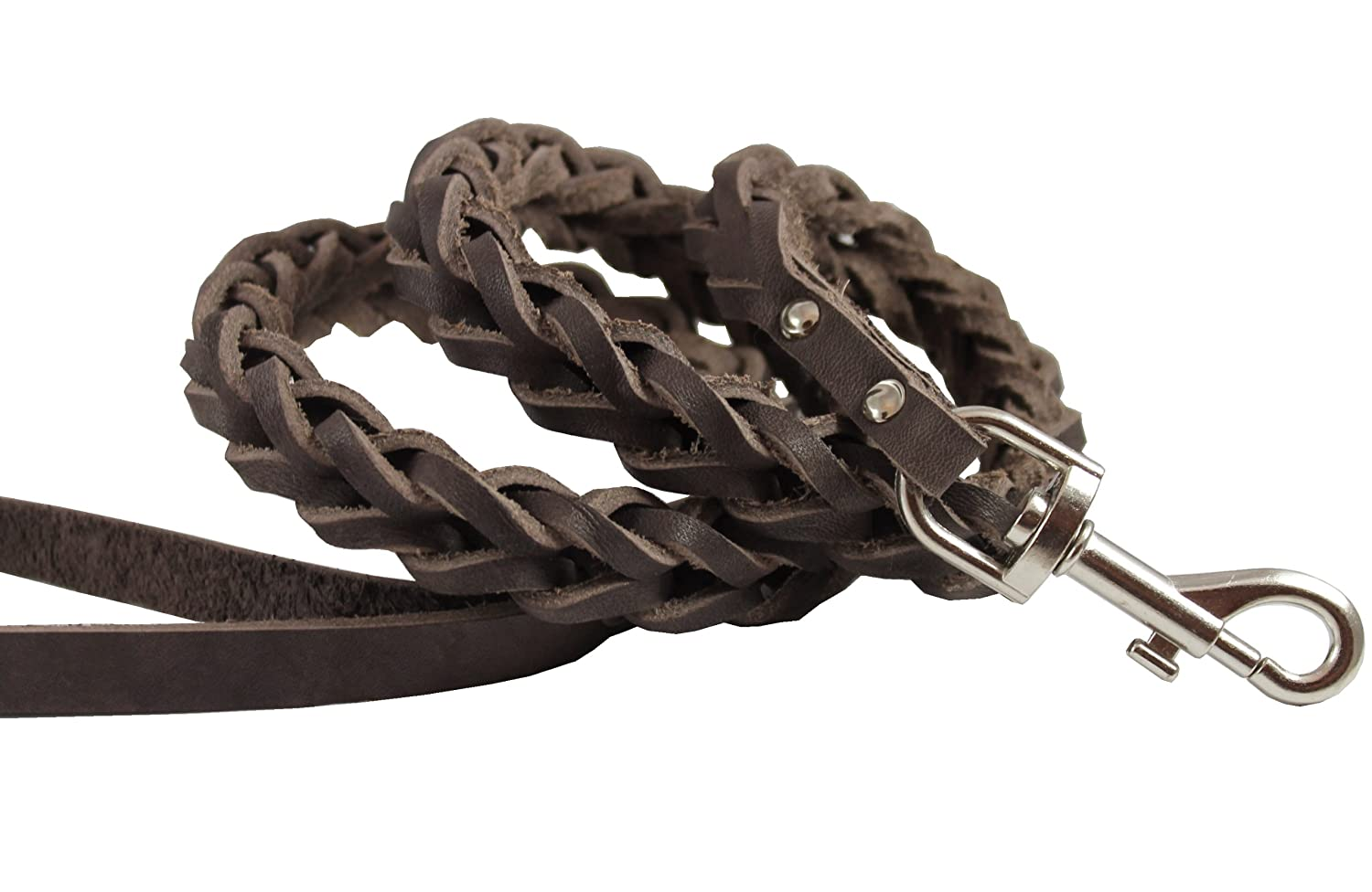 Brown Genuine Leather Braided Dog Leash 45  Long 4-Thong Square Braid for Medium to Large Breeds