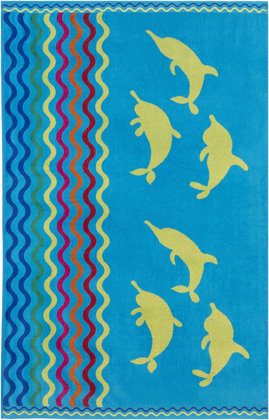Espalma Oversized Luxury Dolphin Stripe Beach Towel, Large Size 70 Inch x 40 Inch Soft Velour and Reversible Absorbent Cotton Terry, Thick and Plush Jacquard Beach Towel, Dolphin Stripe