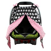 Dear Baby Gear Carseat Canopy, Elephants on Grey, Pink Minky