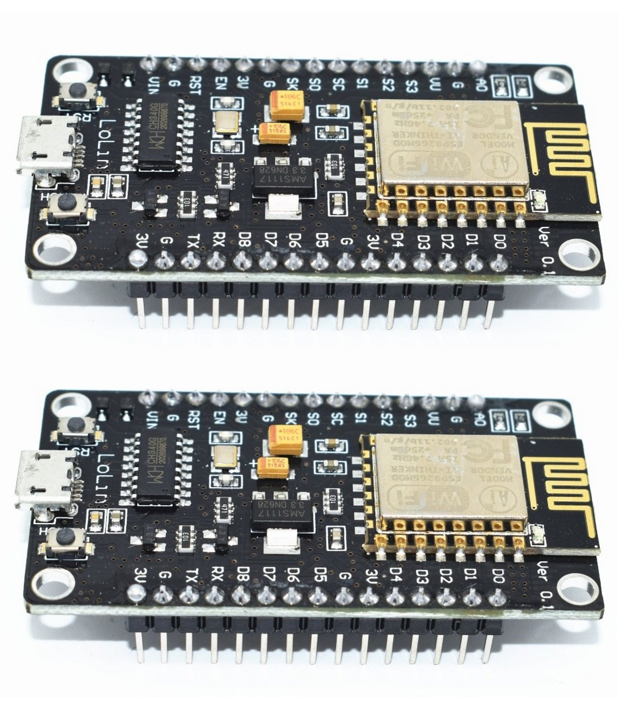 (Paquete de 2) ESP8266 microcontrolador NodeMCU Lua V3 WiFi con CH340G