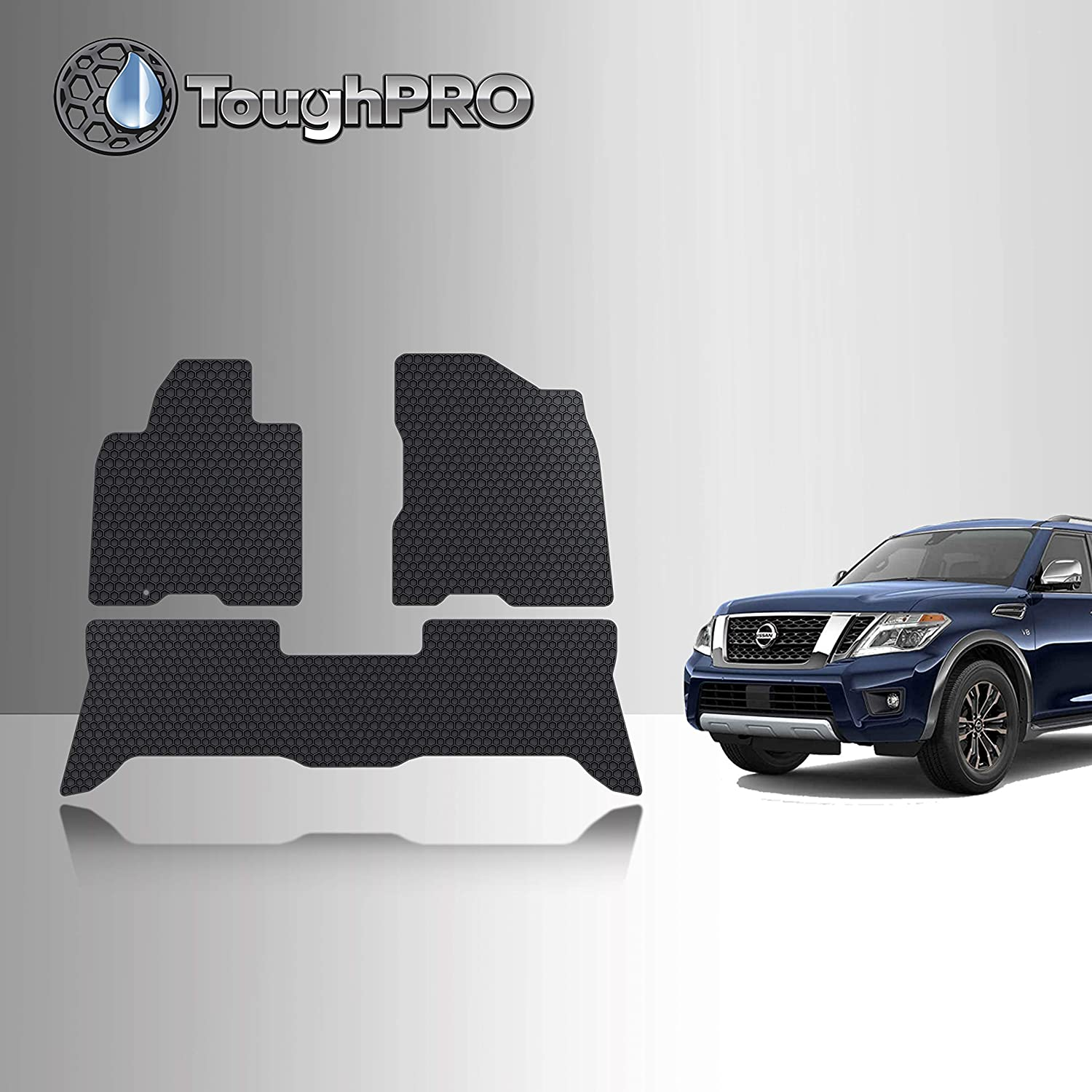 All Weather - Black Rubber TOUGHPRO Floor Mats Set 2018 3rd Row Compatible with Nissan Armada Heavy Duty - 2017 2019 Made in USA 2020