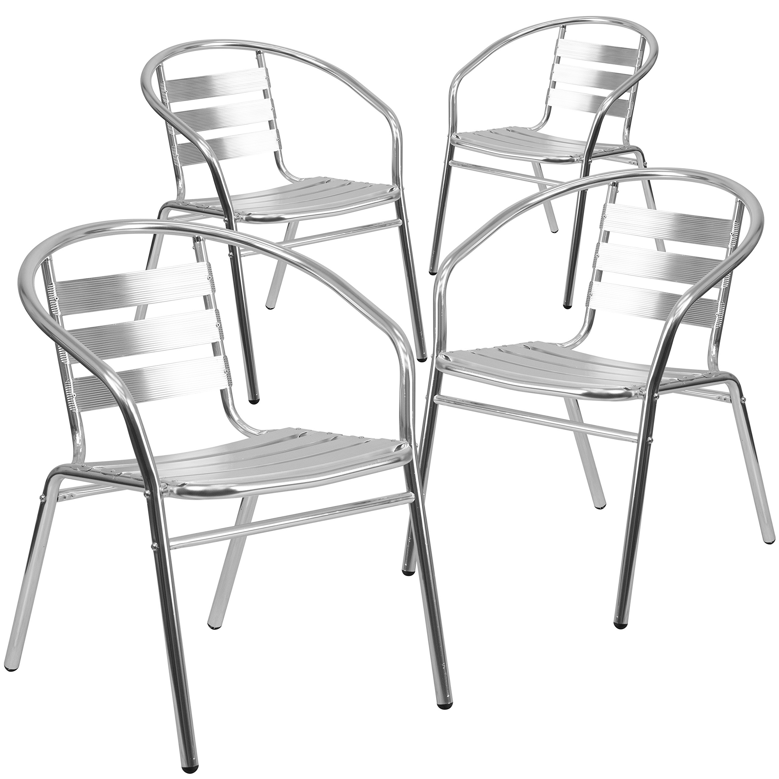 Flash Furniture 4 Pk. Commercial Aluminum Indoor-Outdoor Restaurant Stack Chair with Triple Slat Back and Arms by Flash Furniture