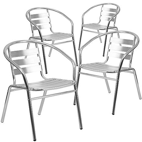 Amazon.com: Flash Muebles 4 Pk. Aluminio Indoor-Outdoor ...