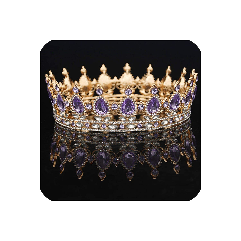 Vintage Style Purple Flower Tiara Crown Hair Piece For Prom Wedding Bridesmaids