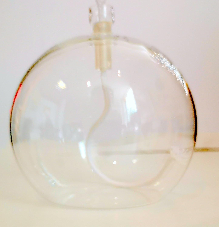 10 cm H/öhe ca 9,5 cm Oberstdorfer Glash/ütte /Öllampe runde Glas Petroleumlampe aus klarem Glas zum hinstellen mit Kindersicherem Dochthalter und 3 mm Rundocht Tischlampe mundgeblasenes Kristallglas Durchmesser ca