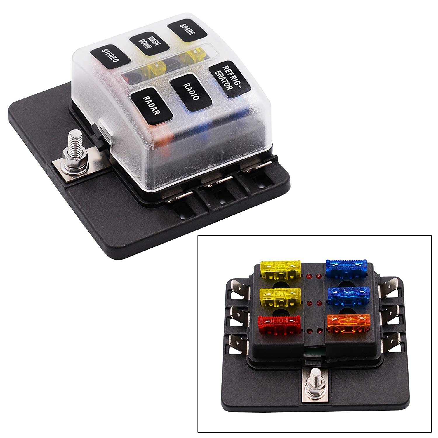 Ocamo 12-30v 6 Way Car Auto Boat Bus UTV Blade Fuse Box Block Cover with LED Indicators