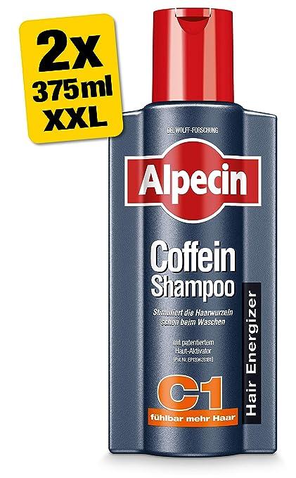 Alpecin Coffein-Shampoo C1 - Champú de cafeína XXL, 2 botes de 375 ml
